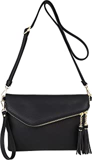 Fold-Over Envelope Wristlet Clutch Crossbody Bag with Tassel Accents
