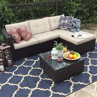 PHI VILLA Outdoor Rattan Sectional Sofa- Patio Wicker Furniture Set (3-Piece, Beige)
