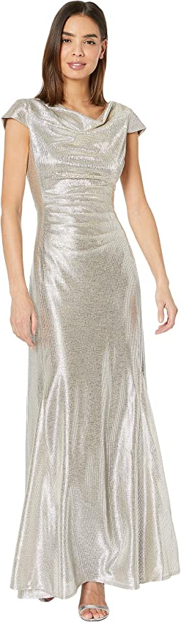 Short Sleeve Metallic Gown with Draped Neck and Soft Ruched Bodice