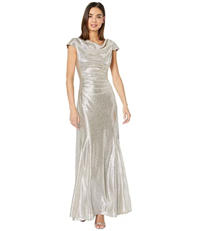 Tahari by ASL Short Sleeve Metallic Gown with Draped Neck and Soft Ruched Bodice (Silver Powder) Women