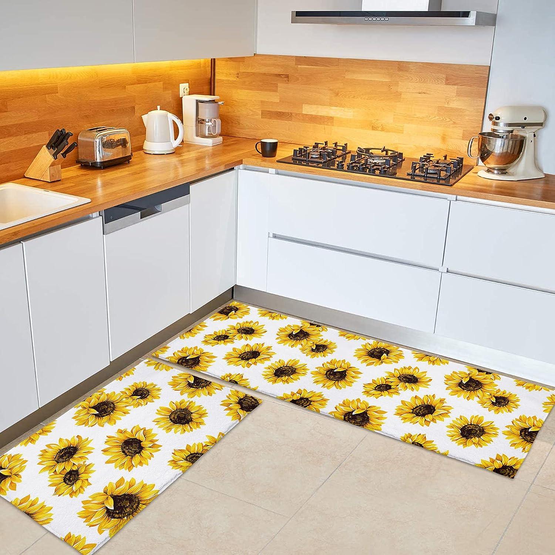 BABE MAPS Sunflowers 2-Pack store Kitchen Standing Non-Slip Classic Mat Floor