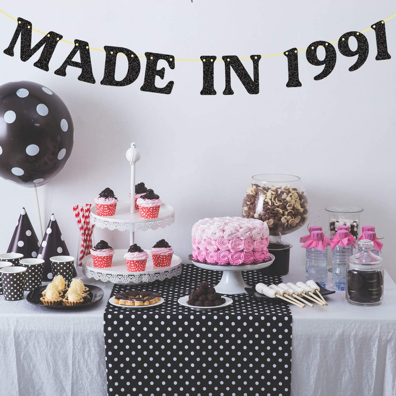 20th Birthday Decorations No DIY Made in 20 Banner Glitter Cheers to 20  Years Happy Birthday Party for Indoor/Outdoor Black