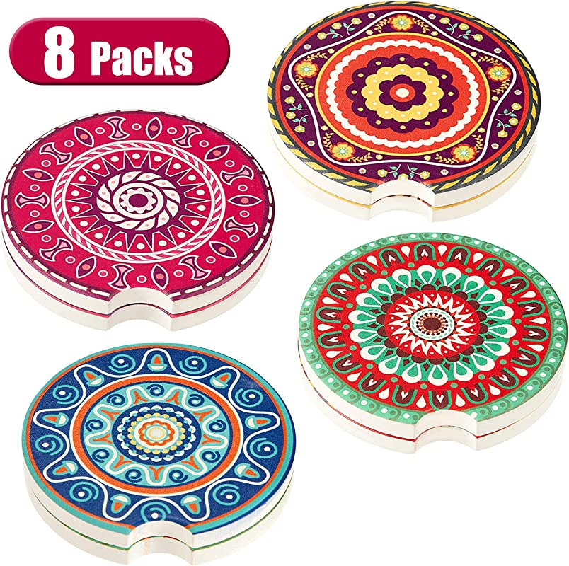 8 Pieces Car Coasters Auto Cup Holder Coasters Absorbent Ceramic Coasters For Drinks Car Cup Holder Accessories