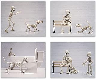 Summit Designs Dog Skeleton Prints - Set of 4 (8x10) Funny Hipster Skull and Bones Poster Photos - Bathroom Bedroom Basement Decor