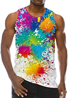 Men's Tank Tops Workout Sleeveless Tee Cool Colorful Spray Paint Printed Fitness Vest Rainbow Inkjet Athletic Training Undershirts
