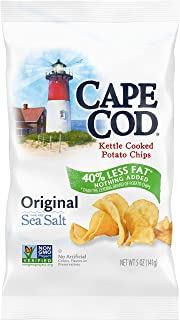 Cape Cod Potato Chips, Less Fat Original Kettle Cooked Chips, 5 Oz (Pack of 8)