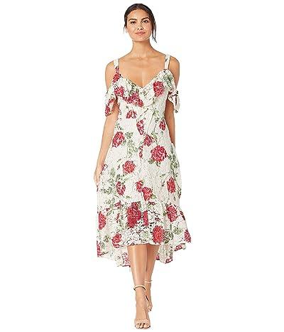 BCBGMAXAZRIA High-Low Floral Lace Dress (Optic White/Large La Rosa) Women