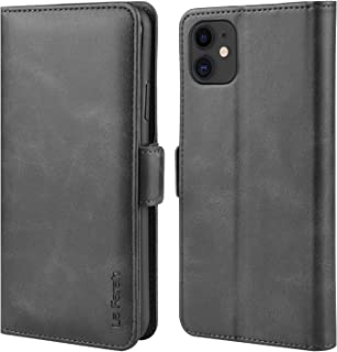 La Farah Case for iPhone 11 Case, Leather Flip Case Wallet Case with Kickstand Function and Card Holders for Apple iPhone 11 Case - Space Black (6.1