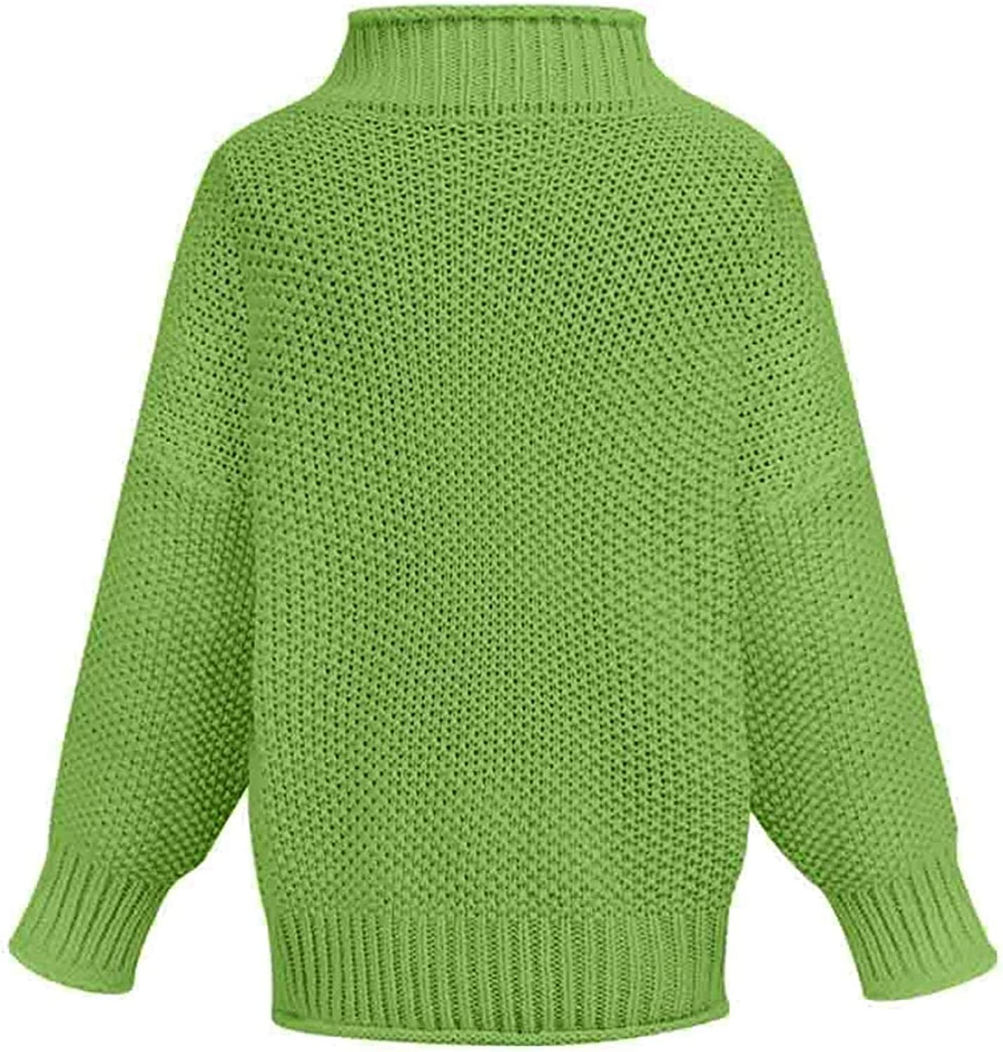 VEFSU Women's Turtleneck Cropped Sweater Washable Silk Mockneck Pullover Classic-Fit Knit Tops Green