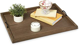 Large 20 x 14 inch Wood Ottoman Serving Tray w/handles - Decorative centerpiece - Coffee Table Decor - Dinner/Food/Bar Trays - Modern Dining Room/living/kitchen Server centerpieces - extra large