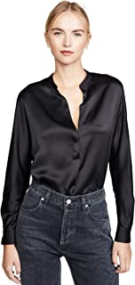 vince satin band collar blouse