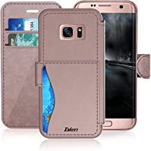 Samsung Galaxy S 7 Edge Leather Wallet Case with Cards Slot and Metal Magnetic, TAKEN Galaxy S7 Edge Plastic Flip Case/Cover, Vintage and Fashion, Durable and Shockproof Holster (Rose Gold) 2016