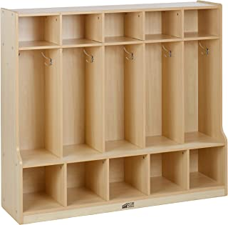 Colorful Essentials 5-Section Coat Locker with Bench - Maple/Maple