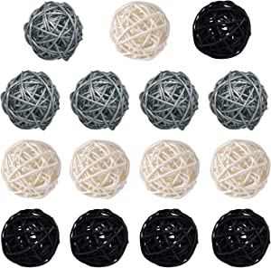 15-Pack Multiple Color White Black Silver Wicker Rattan Balls - Decorative Orbs Natural Spheres Craft DIY, Wedding Decoration, Christmas Tree, House Ornaments Vase Filler - 3 Colors Assorted, 50 mm