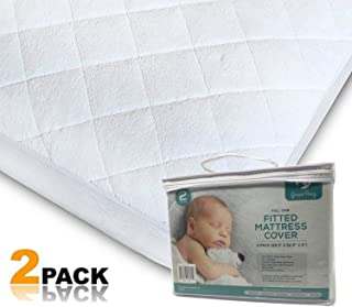 "Ultra Soft Quilted Crib Sheets Premium Hypoallergenic Baby Mattress Protectors, 2 Pads for Boys and Girls Mattress Cover Size 27"" x 39"" x 5"""