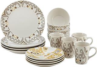 Rachael Ray Ikat Stoneware Dinnerware Set, 16-Piece, Yellow/Gray