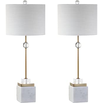 "JONATHAN Y JYL5008A-SET2 Dawson 30"" Marble/Crystal LED Table Lamp, Modern, Contemporary, Glam for Bedroom, Living Room, Office, White/Brass Gold"