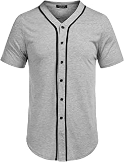 COOFANDY Men's Baseball Button Down Jersey Short Sleeve Hipster Hip Hop T Shirts