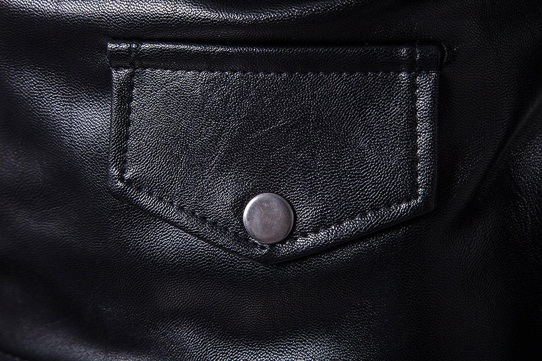 Elonglin Mens Motorcycle Biker Jacket Faux Leather Vintage Coat Zip