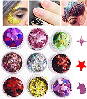 Unicorn Stars Chunky Glitter Makeup Chunky Holographic Glitter Sequins for Nails Face Eyeshadow Lips Hair Body -9 Jars