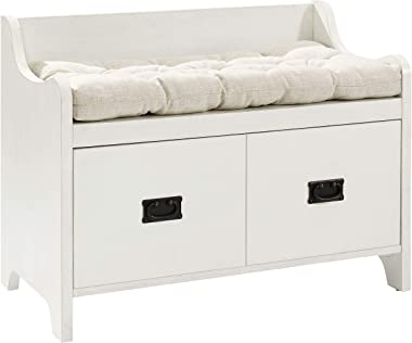 Crosley Furniture Fremont Entryway Bench with Storage, Distressed White