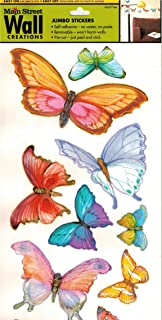 MAIN STREET Wall Creations Jumbo Brightly Colored Butterfly Stickers- 2 Sided Sheet
