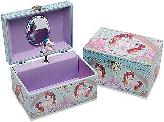 Lucy Locket Portagioie 'Unicorno' con carillon musicale per bambini - Carillon glitterato per bambini con unicorno piroett...