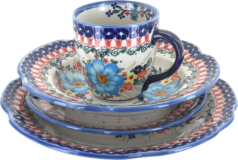 Blue Choice Regular discount Rose Polish Pottery Kristi Piece 16 Dinnerware Set