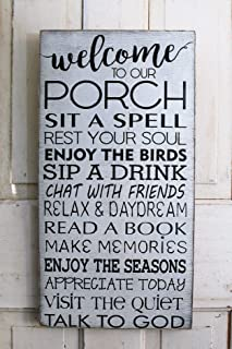SWQAA Porch Rules Sign Distressed Rustic Primitive Typography Subway Sign