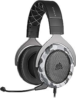 Corsair HS60 Haptic - Auriculares estéreo para Juegos con bajo háptico, Espuma de Memoria, micrófono extraíble, Compatible con Windows Sonic, Certificado por discordancia para PC, Arctic Camo
