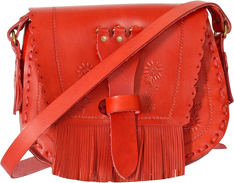 Classic 8 Inch Retro Hippi Style Crossbody Sling Bag Shoulder bag Women's Saddle Bag Purses with Flap Top & Tassel