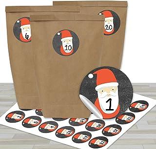 DIY Adventskalender om te vullen - met 24 bruine papieren zakjes en 24 Kerstman stickers - voor DIY en knutselen - Mini Se...