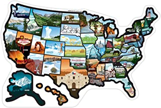 RV State Sticker Travel Map by See Many Places United States Camper Map RV Decals for Window, Door, or Wall ~ Includes 50 State Decal Stickers with Scenic Illustrations
