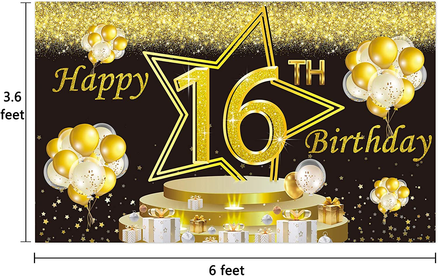 Ushinemi Happy 10th Birthday Backdrop 10 Years Old Birthday Banner Party Decorations Large Bday Wall Decor Signs 6X3.6 Ft Gold and Black