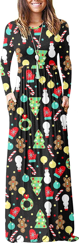 AUSELILY Damen Langarm Loose Plain Plus Size Maxikleider L/ässige Langkleider mit Taschen