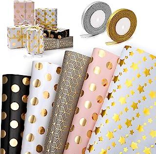 WolinTek Lot de 5 Papier Cadeau et 2 Rouleaux de Ruban, Papier d'emballage d'or Motif en Points et Étoiles pour Anniversai...