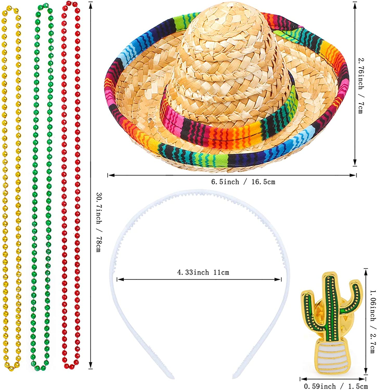 Beelittle Cinco De Mayo Fiesta Fabric and Straw Sombrero Headbands Bean Chain Necklace Mexican Festivals Birthday Party Favors Supplies Decorations