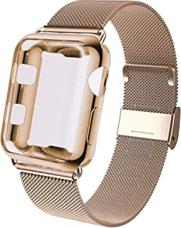 GBPOOT Compatible for Apple Watch Band 38mm 40mm 42mm 44mm with Screen Protector Case, Sports Wristband Strap Replacement ...