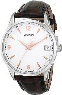 Movado - Mens Circa reloj de correa de cuero marrón 0606576