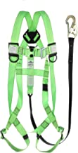Peakworks Safety Harness Fall Protection Lanyard Kit – Full Body, Industrial, ANSI OSHA Compliant, Adjustable, Hi Vis, 6 FT, 3 Point System - Green