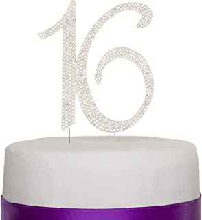 Ella Celebration 16 Cake Topper 16th Birthday Sweet 16 Party Supplies Decoration Ideas Silver Rhinestone Number (Silver)