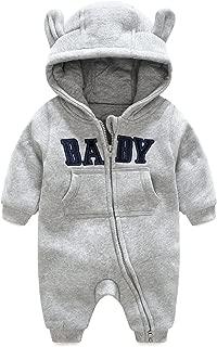 エルフ ベビー(Fairy Baby) ベビー服 ロンパース フード付き クマ耳 長袖 秋冬防寒着 12M グレー