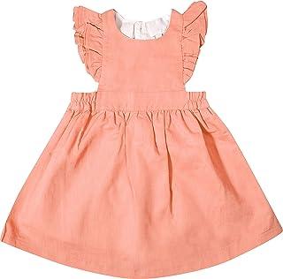 Angeline Kids Toddler Girls Flutter Pinafore Ruffle Cotton Linen Dress - Coral - 4T