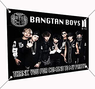 K pop Boy Band Group Army Vest Logo Banner Large Vinyl Indoor Outdoor Banner Sign Poster Backdrop Decoration, 30