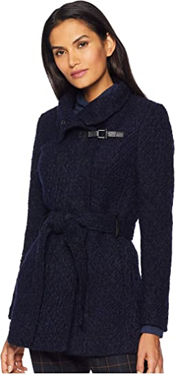 Funnel Collar Belted Boucle Wool