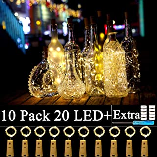 10 Pack Wine Bottle Lights with Cork-20 Led Battery Powered Copper Wire Fairy String Lights for Garden, Patio Pathway Décor, Outdoor, DIY, Party, Wedding (10, Warm White)