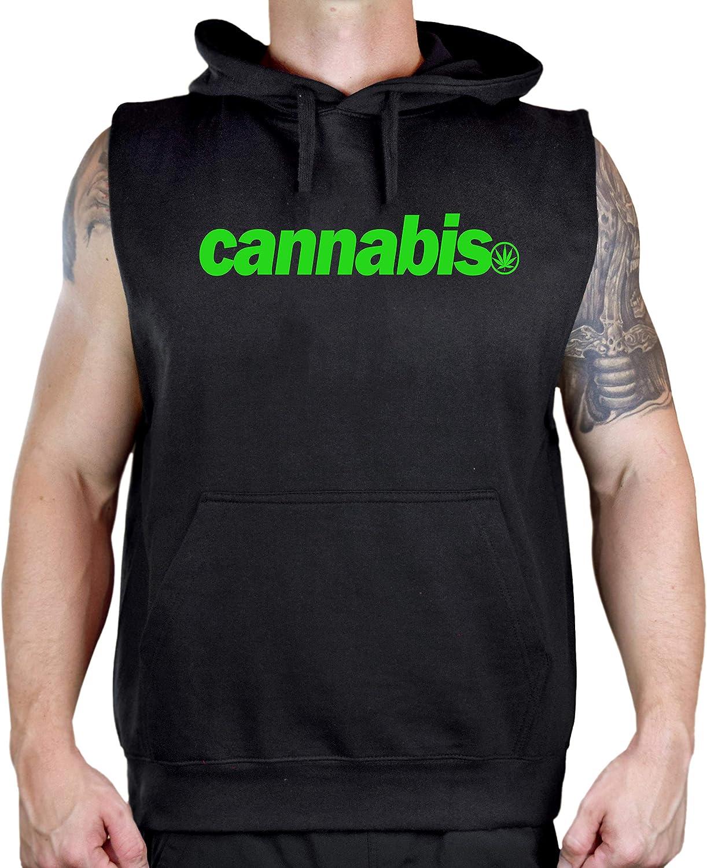 Men's Bold Cannabis. Black Sleeveless Vest Hoodie
