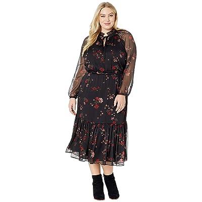 LAUREN Ralph Lauren Plus Size Floral Georgette Dress (Black Multi) Women