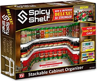 Best Spicy Shelf Deluxe - Expandable Spice Rack and Stackable Cabinet & Pantry Organizer (1 Set of 2 shelves) - As seen on TV Review
