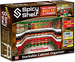 Spicy Shelf Deluxe - Expandable Spice Rack and Stackable Cabinet & Pantry Organizer (1 Set of 2 shelves) - As seen on TV